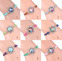 20 pcs Hand Chain Bracelets Women Christmas frozen Bangles Wristbands Cuff Leather gift Snowflake Pendants Jewelry