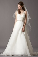 New Designer V Neck Beading Sash Wedding Dresses With Zipper Up Bow Back New Arrival