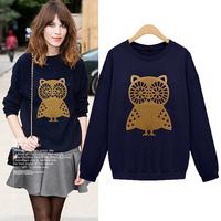 Spring Autumn Latest New Women Casual Cute Owl Print Loose Sweatshirt Hoodies Plus Size M-XXL 3 Colors Navy/Gray/Beige