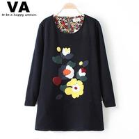 Woman Long T Shirt Winter Long Sleeve O Neck Fleece Appliques Print T Shirts 2015 Fashion New Thick Womens Casual T Shirt W00239