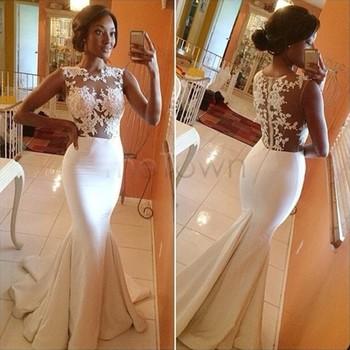 Vestido longo de renda branco