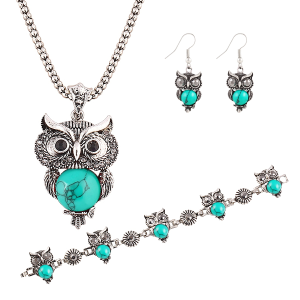Brand Design Jewelry Sets Plating Silver Retro Turquoise Pendant Necklace Owl drop earrings Charm bracelet Gift women 2014 M13(China (Mainland))