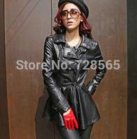 New 2014 European Fashion Motorcycle leather jackets autumn black leather jacket women long leather coat women leather trench