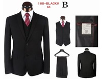 Mens Formal Wedding Suits Top Quality Solid Business Dress Suits Clothing Evening Blazer Jacket Trousers 3 Pieces BLack