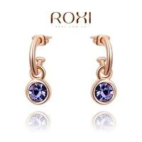 ROXI Wholesale fashion jewelry rose Gold Plated Austrian Crystal C Rhinestone Drop Earring 2014121243