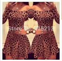 women summer dress Leopard print strapless dress women casual dress fashion vestidos
