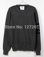 Brand THOM  Classic striped sleeve dark gray hedging warm round neck sweater