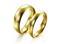 Hot Sale Fashion Golden Lord of the Rings Stainless Steel Unisex One Ring Couple Wedding Jewelry Women Size 5-9 Men Size 7-12