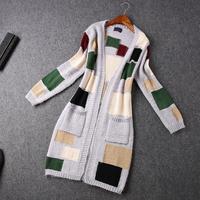 2014 High quality Fashion Colored squares cardigan long sweater coat winter coat women