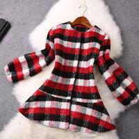 2014 High quality Fashion red lantern sleeve plaid wool coat winter coat women