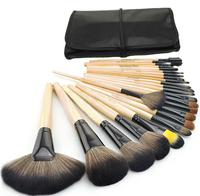 Free Shipping Makeup Tool Kit 24pcs/pack Nylon Brush + Wood Handle with Black Bag for Makeup Master