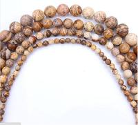4 6 8 10 mm Natural Beautiful Picture Jasper Round Beads Fashion Jewelry DIY Beads