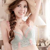 Free shipping, Sweet Love Lolita style bra set, sexy fashion women's underwear (borwn,blue)cup A ~cup C