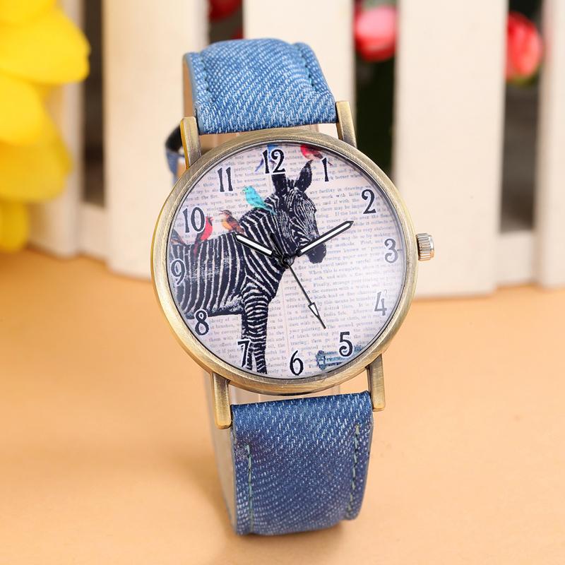 Fashion Quartz Watch Women And Men Zebra Print Jeans Fabric Strap Casual Watch Analog Quartz Wristwatch Vintage Relogio Clock(China (Mainland))