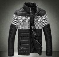2015 spring new fashion slim men's jacket Casual Splice pu leather men's coat mens clothing plus size cotton coat black 3508