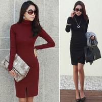 2015 autumn winter Women's turtleneck dress long-sleeve basic women winter dress knee length solid dress sheath woolen dress