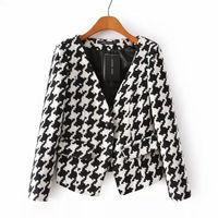 Women winter coat wholesale 2015 new desigual Houndstooth print long sleeve V-neck single button casual blazer women clothing