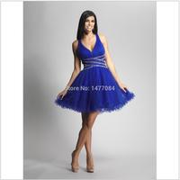 Royal Blue Tank Style Party Dress Chiffon Beading Ball Gown Short Dress Personality 2014 Custom Made154154141