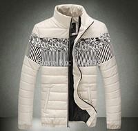 2015 spring new fashion slim men's jacket Casual Splice pu leather men's coat mens clothing plus size cotton coat beige 3508