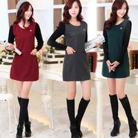 2015 autumn and winter plus size clothing elegant fashion slim long-sleeve slim hip basic woolen one-piece dress