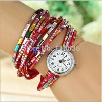 10 pcs lot Strip Bracelet Watch women Rainbow Rhinestone PU leather Wrap casual dress wristwatch reloj NEW Fashion wholesale