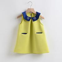 2015 summer Girls Dress New Designed cotton solid children girls clothing baby dress princess dress