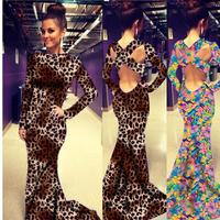 2015 New Womens Party Dresses Sexy Slim Long Sleeve  Leopard Printed Trumpet/Mermaid Backless Floor-length Maxi Dress Vestidos