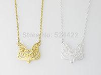 Min 1pc Unique Fox face necklace in Gold / Silver,Tattooed Fox Face pendant necklace for women XL-143