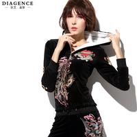 Diagence winter velvet plus velvet thickening berber fleece long-sleeve set diamond skull set