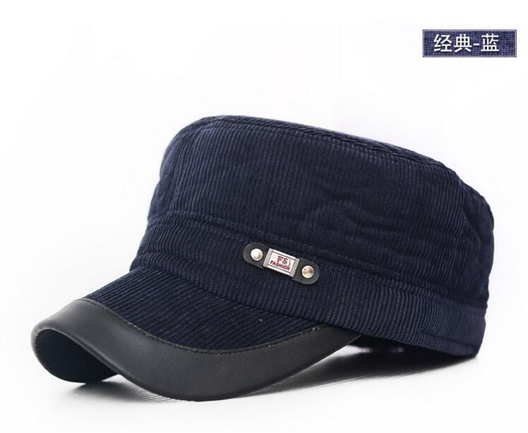 The new 2014 men winter hats Warm cotton padded cap earmuffs flat hat fashion corduroy cap cap for men(China (Mainland))