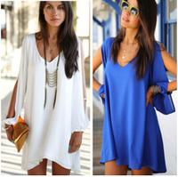 Hot new women's dress round neck short section of loose casual chiffon dress fashion women clothing S/M/L/XL free shipping