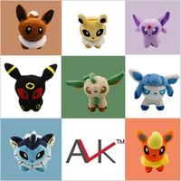 """Free shipping Pokemon Umbreon 8pcs/lot 5"""" Eevee Espeon Jolteon Vaporeon Flareon Glaceon Leafeon Plush Toys Soft Stuffed animals"""