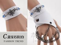 free shipping (min order 10USD) new design cool blue crystal punk leather bracelet / gloves set