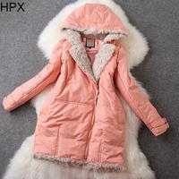 Women 2014 Autumn Winter New Wool Hooded Long Sleeve Duck Down Jacket Coat European American Style O021