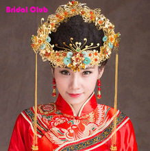 Unique Luxury Gold Plated Chinese Wedding Hair Accessories Red Flower Mixed Tiaras and Crowns. Marriage hairwear