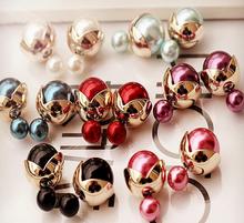 ne428 Hot New Fashion Rhinestone Cute Sweet Paragraph Stud Earrings Double Pearl Earrings Beads Earring Jewelry For Women 2015