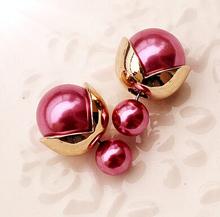 428 New Fashion Hot Selling Earrings 2015 Double Side Shining Pearl Stud Earrings Big Pearl Earrings