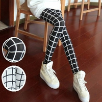 Brand New 2015 Women Legging Spring Autumn Slim Milk Slik Black And White Plaid Square Ankle-Length Leggings Pants