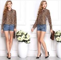 Blusas Femininas NEW Spring Summer Women Casual Shirt Long Sleeve Leopard Chiffon Blouse Lady Top Roupas Free Shipping Wholesale