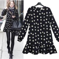 2015 Mm plus velvet flower print one-piece dress long-sleeve basic 200 fashion all-match plus size thickening plus size clothing