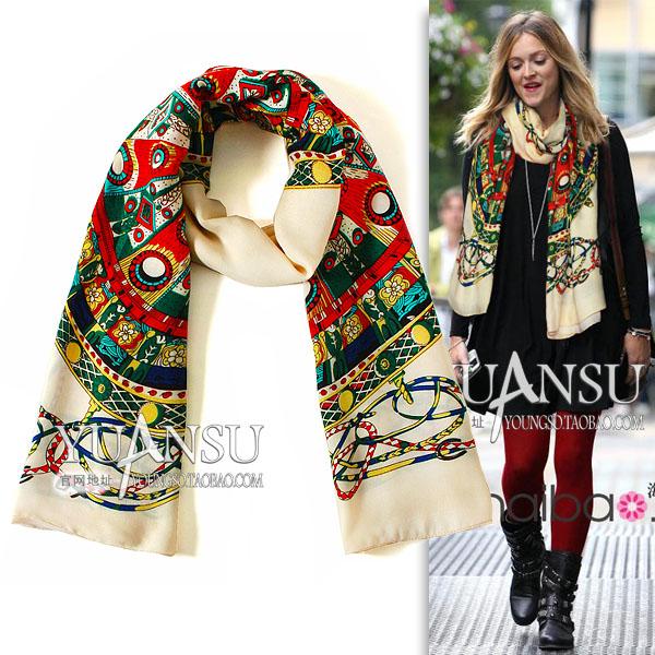 Yuansu Store new arrival 2015 retro tide Fashion painting national trend print fashion 180 ultra women's long wool scarf(China (Mainland))