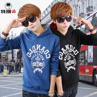 Lovers sweatshirt with a hood print sweatshirt male slim outerwear autumn and winter brushed thickening sweatshirt