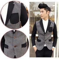 2014 New Fashion England Style Gentleman Jackets Houndstooth Cotton Patchwork Men's Business Blazer Coat