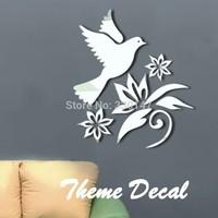 Beautiful 3D Flowers Birds Mirror Decorative Acrylic Wall Sticker Design Mirror Stickers Mirrored Home Decor Kid's Room