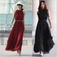 2015 New fashion polka dot sleeveless vest loose expansion bottom full long dress with belt  w528