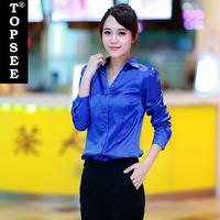 Fashion Office Lady Silk Shirt Spring Autumn Silk Blouse Shirt Long Sleeve Turn-down Collar Blue/White/Pink Hot Sale Shirt E5253