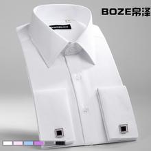Camisa abotoaduras francês macho casado camisa fino masculino de manga comprida camisa cuidado fácil cor sólida(China (Mainland))