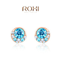 ROXI Wholesale fashion jewelry Rose White Gold Plated Austrian Crystal Stud Earring 2014121238