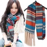 Fashion bohemia t093 autumn and winter thermal yarn tassel scarf female winter long design large cape