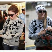 New Woman Swallow Printed Sweatshirts Velvet Hoody Spring Autumn Moleton Loose Pullover Casual Sportswear Pluse Size CX852776